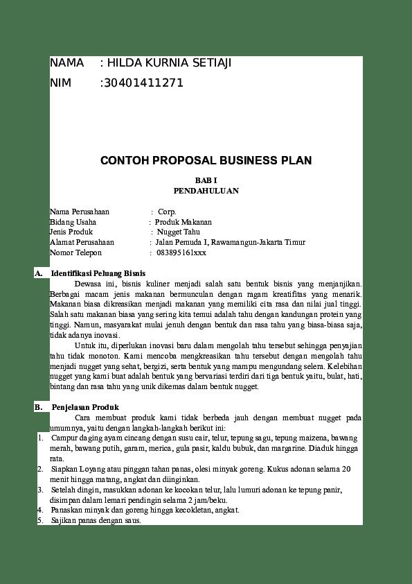 Contoh Bisnis Plan Untuk Cafe Jasa Makanan Minuman Lengkap