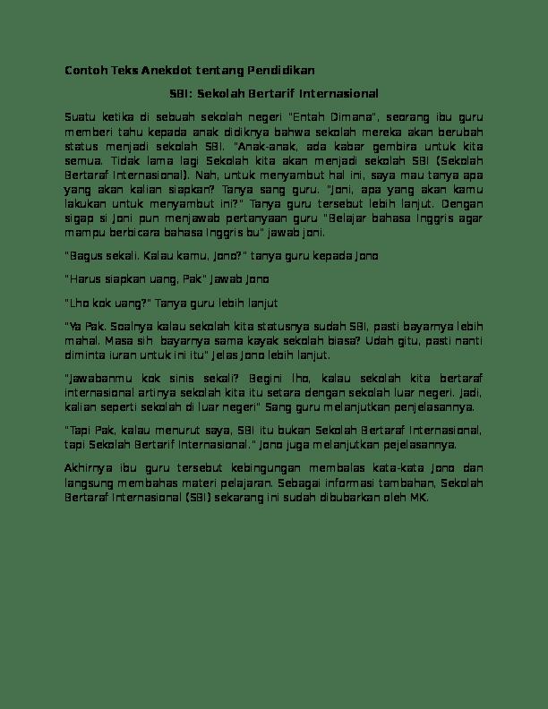 Contoh Teks Anekdot Pendidikan