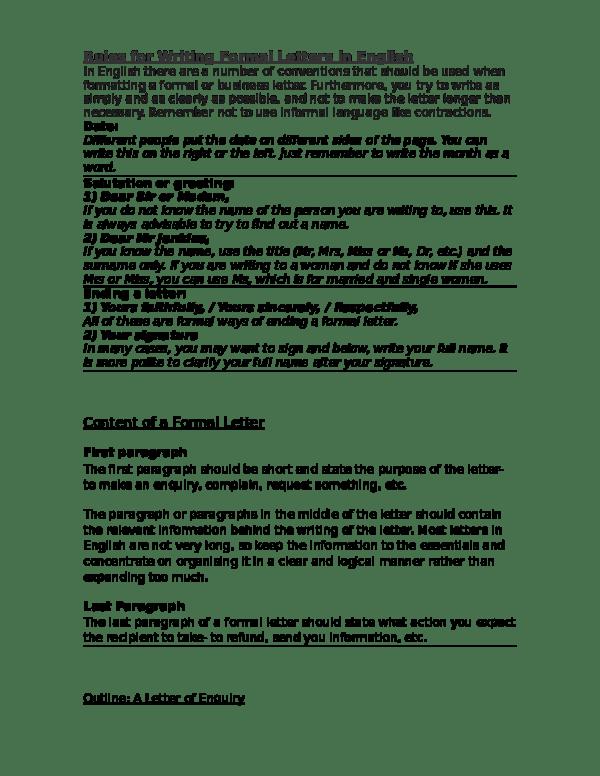 Doc Rules For Writing Formal Letters In English Lolo Gallardo Fernandez Academia Edu