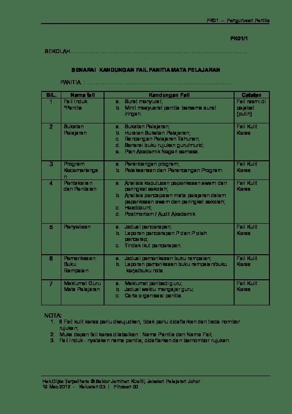 Membentuk jk disiplin di sekolah d. Doc Pk01 1 Senarai Kandungan Fail Panitia Unit Disiplin Smktpr Academia Edu