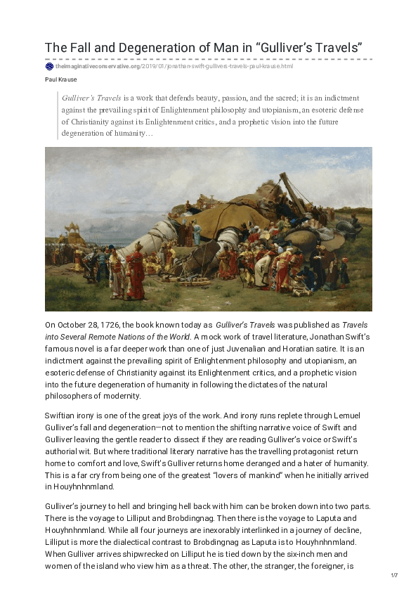 """The Fall and Degeneration of Man in """"Gulliver's Travels ..."""