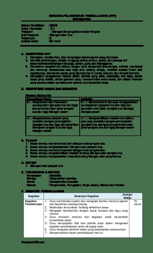Algoritma teknik menghitung bilangan untuk penarikan akar pangkat tiga yang. Doc Rpp Mtk Kelas 5 Bilangan Akar Dua Haloprofesi Com Desy Dedew Academia Edu