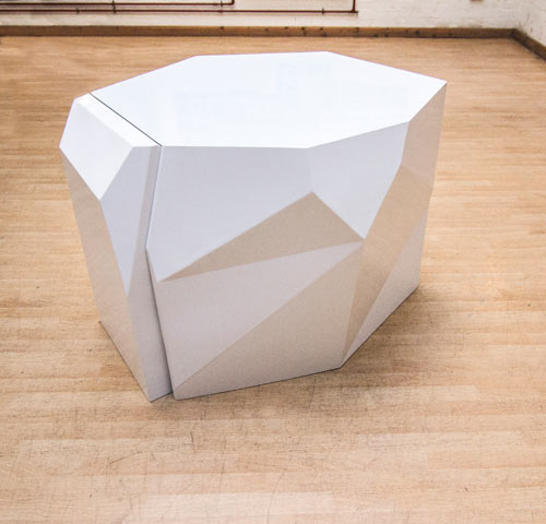 Sculptural Chairs Disappear Into Geometric Table in home furnishings  Category