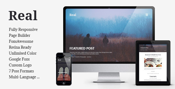 00 feature thumb.  large preview - REAL - Responsive Blog WordPress Theme