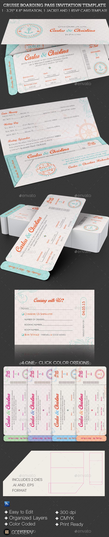 Wedding Cruise Boarding Pass Invitation Template Graphicmule