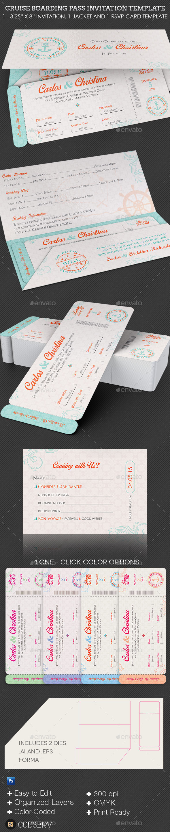 Wedding cruise boarding pass invitation template graphicmule wedding cruise boarding pass invitation template stopboris Image collections