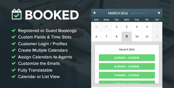 Booked v1.9 – Responsive Appointment Booking WordPress Plugin