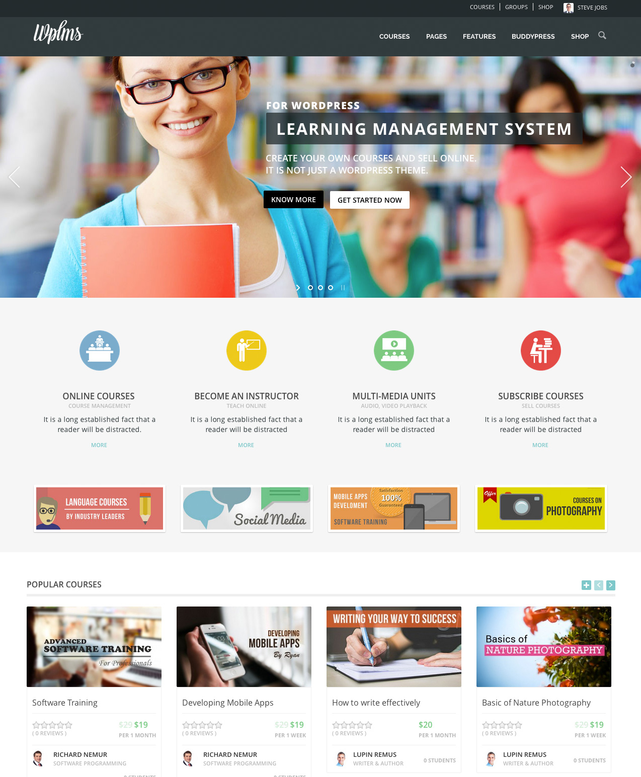 WPLMS 2.7.3 LMS Learning Management System – WordPress Theme s1