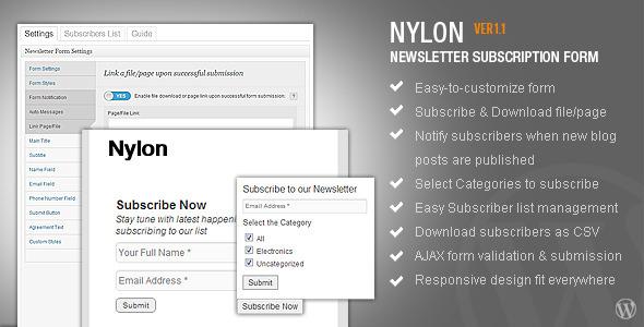 nyLON Subscription form - WP Plugin - CodeCanyon Item for Sale