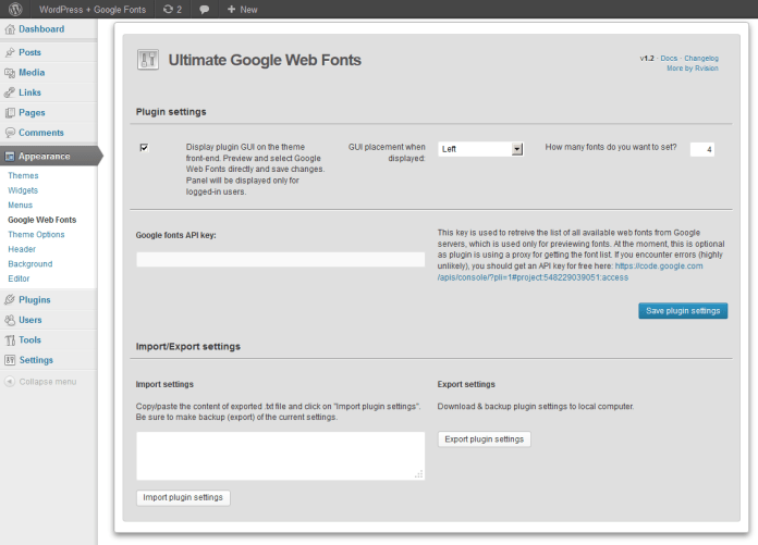 Ultimate Google Web Fonts admin interface