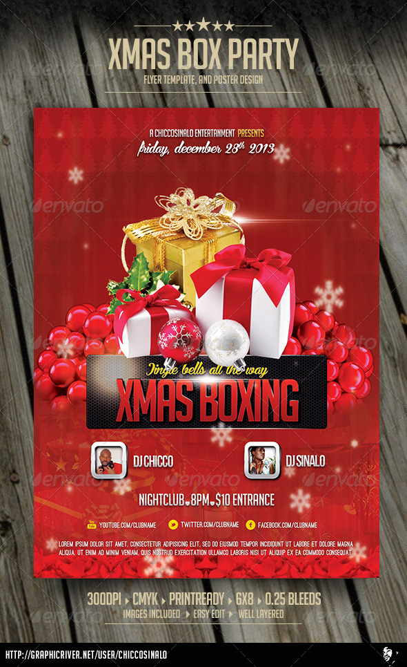 Christmas Boxing Flyer Template GraphicRiver