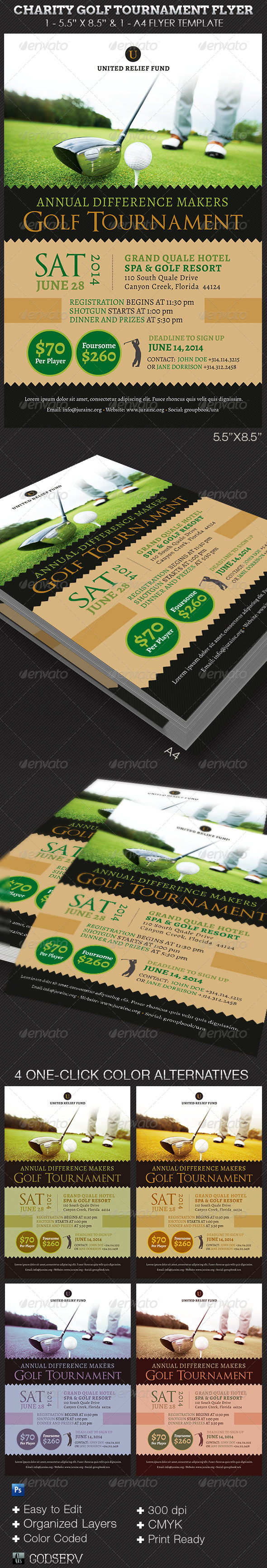 Charity Golf Tournament Flyer Template | GraphicMule