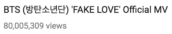 "- Fake Love1 - BTS's ""Fake Love"" MV Sets Another Record With 80 Million Views  - Fake Love1 - BTS's ""Fake Love"" MV Sets Another Record With 80 Million Views"