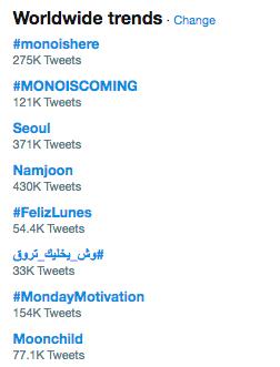 """""""#Monoishere"""" y más es tendencia en todo el mundo a medida que los fans de BTS, ARMY, experimentan y muestran amor a la nueva música en solitario de RM 12"""