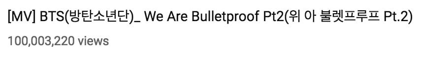We Are Bulletproof Pt. 2 de BTS se convierte en su vídeo musical número 16 en alcanzar los 100 millones de vistas MÚSICA Jan 29, 2019 1