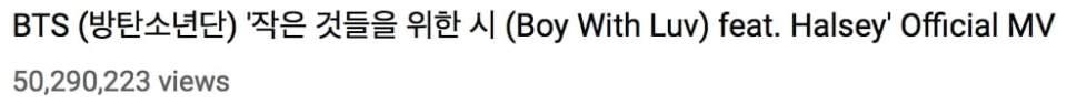"""BTS registra nuevo récord mientras que """"Boy With Luv"""" llega a los 90 millones de visitas 4"""