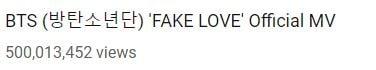 """Fake Love"""" de BTS se convierte en su 3er video en llegar a los 500 millones de visitas 2"""