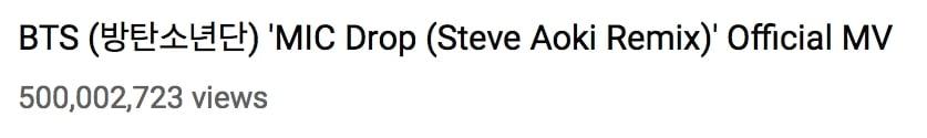 """El remix de """"MIC Drop"""" de BTS se convierte en su cuarto MV en alcanzar los 500 millones de vistas 2"""
