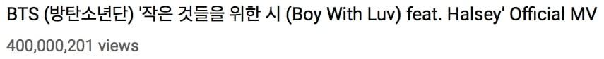 """""""Boy With Luv""""  se convierte en el video más rápido de un grupo coreano de chicos en llegar a 400 millones de visualizaciones 1"""