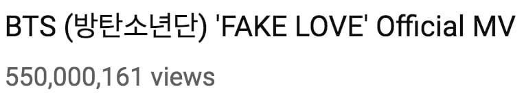 """""""Fake Love"""" de BTS se convierte en el MV de un grupo masculino coreano más rápido en superar los 550 millones de reproducciones 1"""