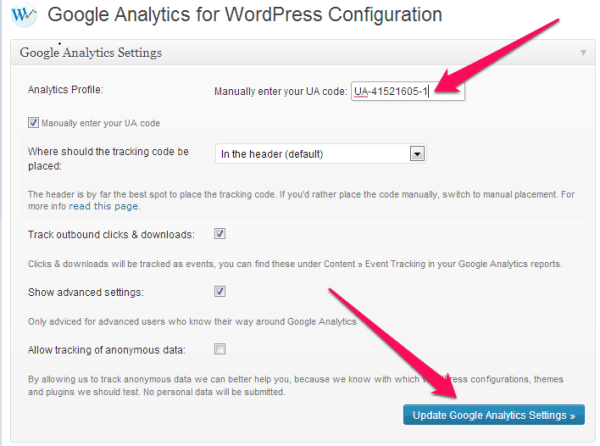 Google Analytics WordPress configuration