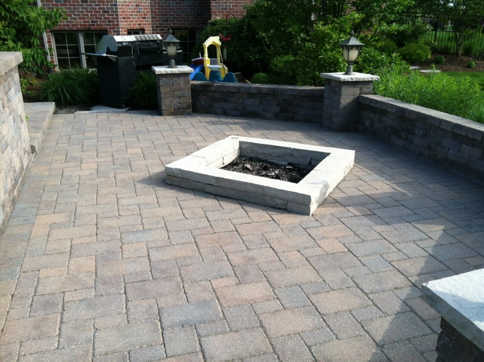 Before Photo of Stone Patio with Fire Pit