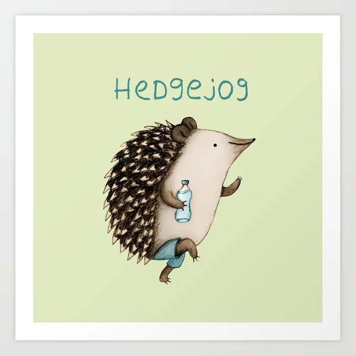 Sunday's Society6 | Fun art print, hedgejog, jogging hedgehog