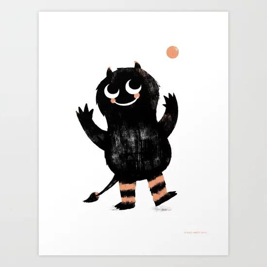 Sunday's Society6   Black monster art print