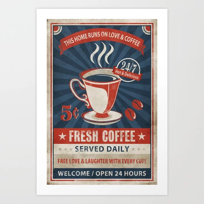 Sunday's Society6 | Vintage retro coffee poster art print