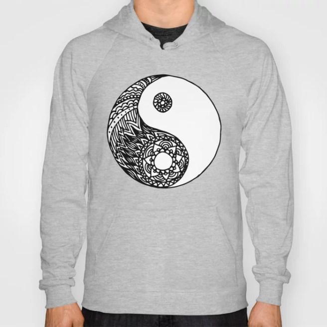 tangled zentangle yin yang hoody hoodie