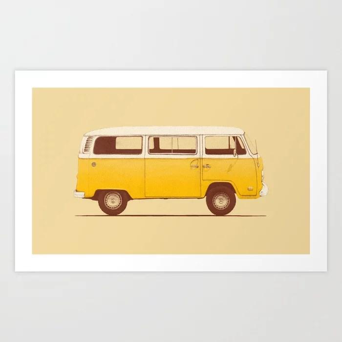 Sunday's Society6   Yellow Volkswagen van illustration, art print