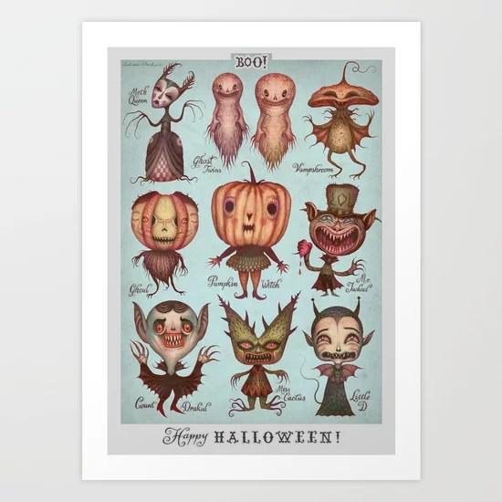 Sunday's Society6   Happy Halloween monster art print