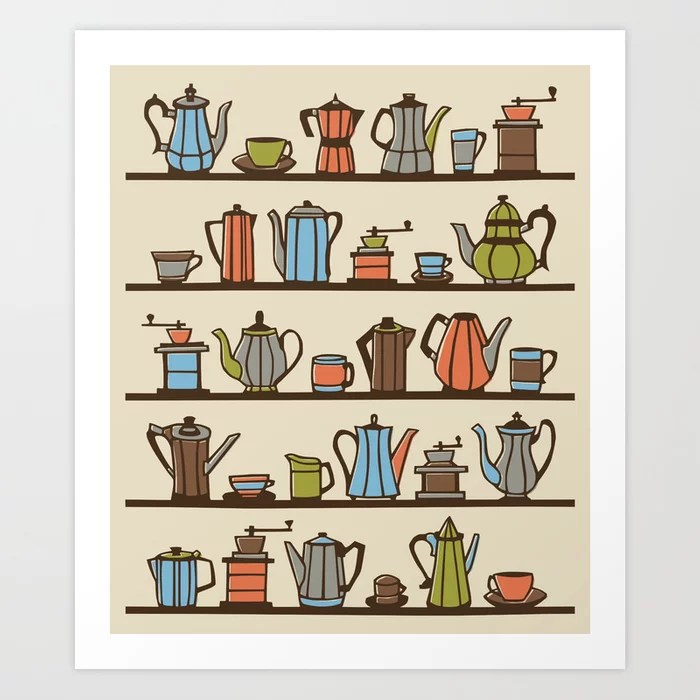 Sunday's Society6 | Coffee pots art print illustration