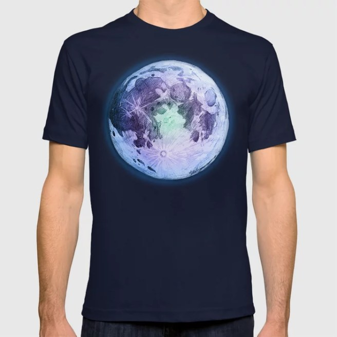 pastel moon drawing art design navy blue mens fitted tshirt