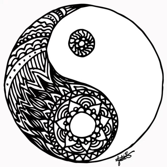 tangled black and white yin yang mandala live trace illustrator