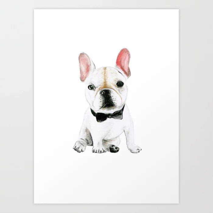 Sunday's Society6 | White pup with bow illustration, art print