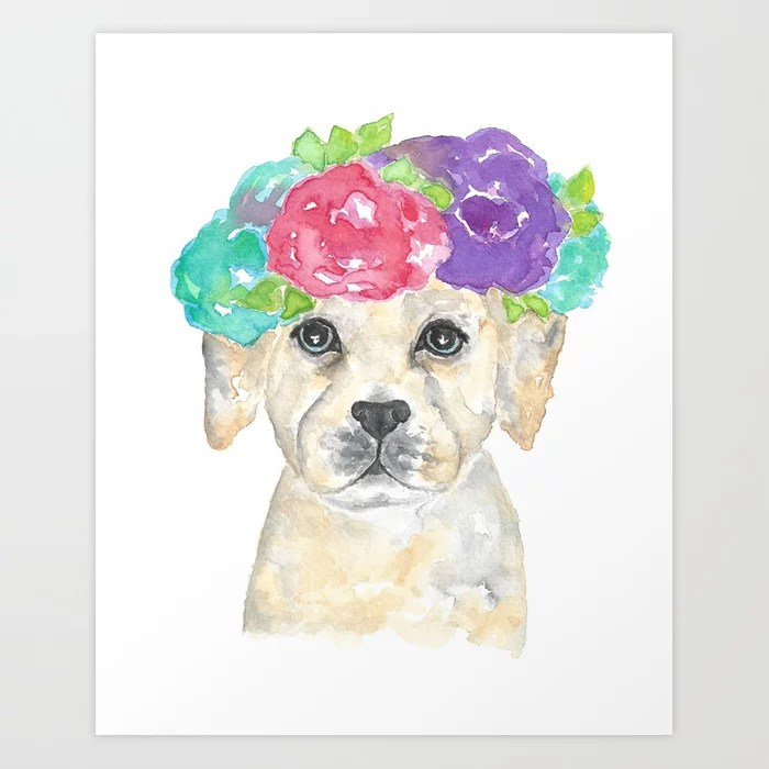 Sunday's Society6 | Pup with flowers illustration, art print