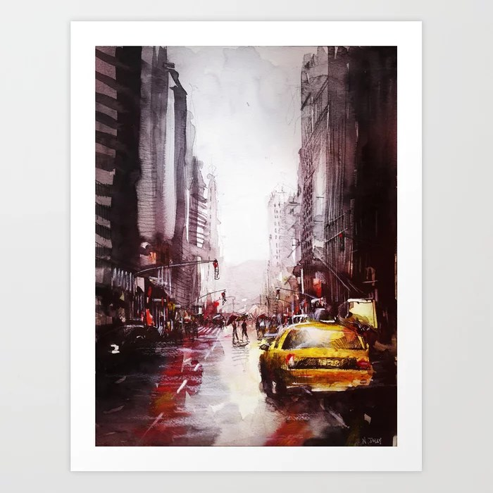 Sunday's Society6 | Painting of a yellow cab in the streets of New York