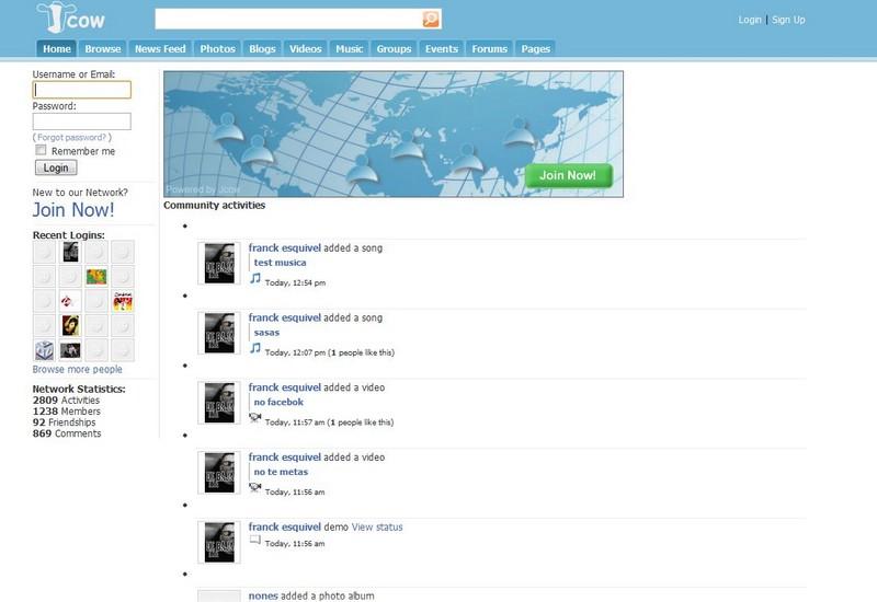 Jcow - Script réseau social gratuit