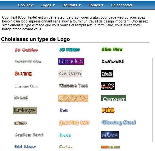 Créer le logo de sites et marques avec Cool Text