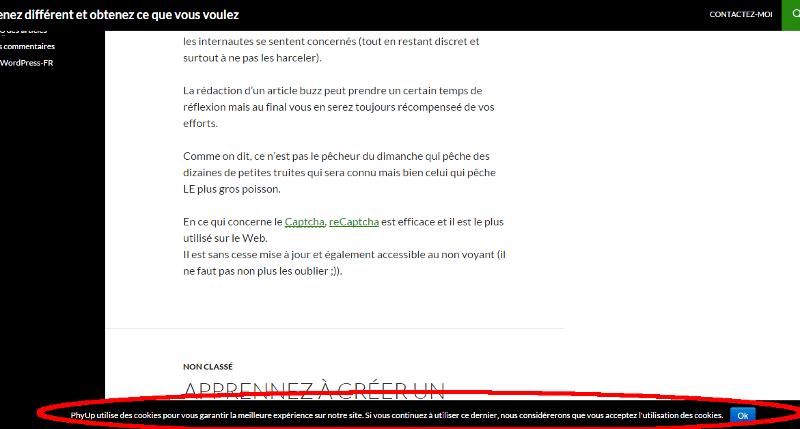 Exemple de PopUp avec Cookie Notice