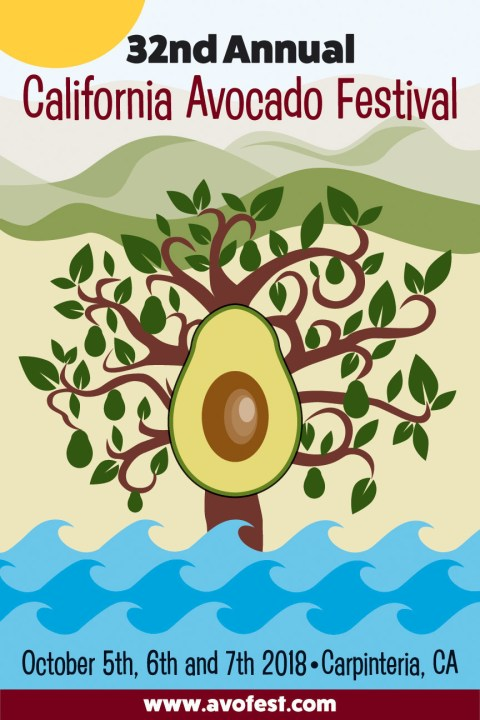 This year's 32nd Annual California Avocado Festival poster, designed by Evamgelina Cervera, is a celebration of life in Carpinteria—the layered mountain-scape, the rolling ocean waves and the ever-present sun. At the center of it all is the avocado.