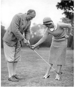 In 1931,Sheehan took this photograph of Ty Cobb receiving a golf lesson from Glenna Collett Vare, who won the U.S. Women's Amateur six times. Cobb was from Augusta, and this photograph was taken there--possibly at Augusta National.
