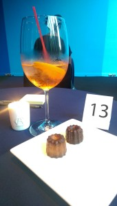 My lucky speed-date number. Note: the cocktail and cannelé. Yummy.