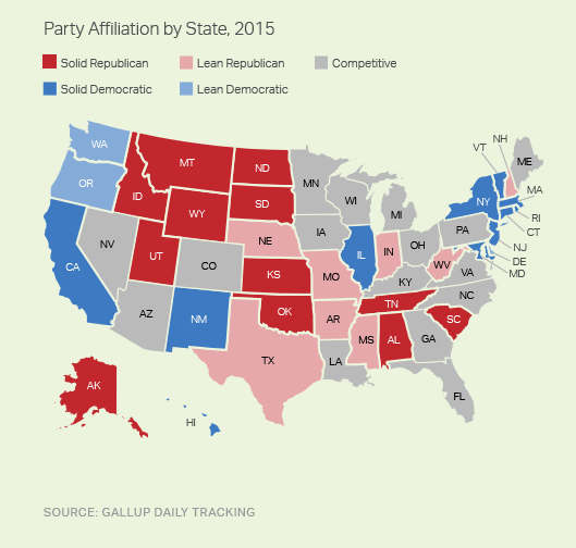 party affiliation by state 2015