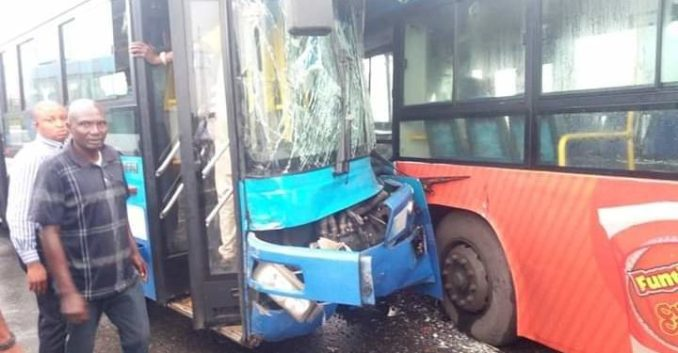 Four injured as two BRT buses collide in Lagos