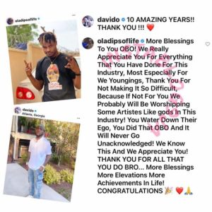 """""""If not for you, we'll be worshiping some artistes like gods"""" Rapper OlaDips heaps praise on Davido"""