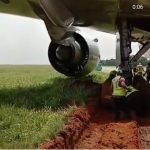 An airplane got stuck in the mud in Murtala Muhammed International Airport