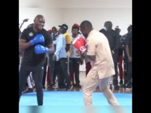 Kamaru Usman Visits Country home Edo, Practices Boxing With Deputy Governor