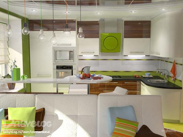 Кухня-гостиная 18 кв.м. варианты планировки - дизайн кухни ...
